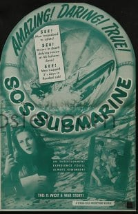 3x900 SOS SUBMARINE pressbook 1948 story of 13 doomed men aboard a sunken sub, cool die-cut cover!