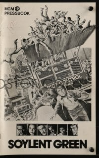 3x901 SOYLENT GREEN pressbook 1973 art of Charlton Heston trying to escape riot control by Solie!