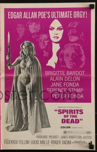 3x904 SPIRITS OF THE DEAD pressbook 1969 Federico Fellini, Reynold Brown art of sexy Jane Fonda!