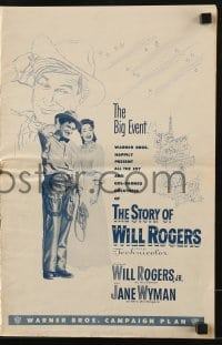 3x910 STORY OF WILL ROGERS pressbook 1952 Will Rogers Jr. as his father, Jane Wyman, cool art!
