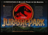 3x065 JURASSIC PARK promo brochure 1993 Steven Spielberg, opens to make a cool 11x16 poster!