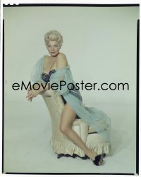 4d001 BARBARA NICHOLS 8x10 transparency 1950s full-length in skimpy lace nightgown on chair!