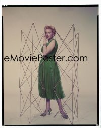4d009 DEBORAH KERR 8x10 transparency 1956 full-length Paramount portrait by tall wire sculptures!