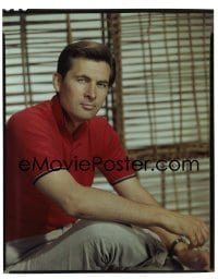 4d012 FESS PARKER 8x10 transparency 1959 great seated portrait wearing red collared shirt!