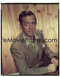 4d020 JOHN PAYNE 8x10 transparency 1955 great seated portrait in open collar shirt by Bud Fraker!