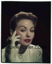4d021 JOKER IS WILD 8x10 transparency 1957 portrait of sexy Jeanne Crain over black background!