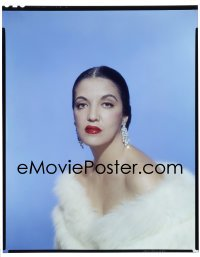 4d022 KATY JURADO 8x10 transparency 1953 in fur gown with bare shoulders likely from High Noon!