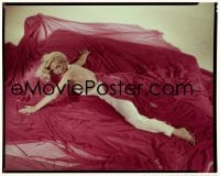 4d027 LOVING YOU 8x10 transparency 1957 sexiest portrait of Lizabeth Scott laying on red sheet!