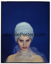 4d034 SOPHIA LOREN 8x10 transparency 1950 sexy c/u in wild outfit with turban over blue background!