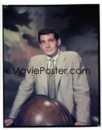 4d044 WAR OF THE WORLDS 8x10 transparency 1953 Gene Barry Paramount portrait by world globe!