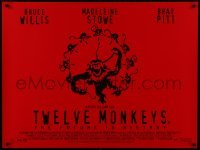 4f864 12 MONKEYS DS British quad 1996 Bruce Willis, Brad Pitt, Stowe, Terry Gilliam directed sci-fi!