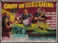 4f888 CARRY ON SCREAMING British quad 1966 English horror comedy, wild Tom William Chantrell art!