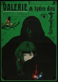 4f025 VALERIE & HER WEEK OF WONDERS Czech 23x32 1970 Jaroslava Schallerova, wild Nemecek artwork!