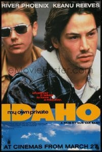 4f857 MY OWN PRIVATE IDAHO teaser English double crown 1992 close up of River Phoenix with Keanu Reeves!