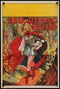 4f858 RED RIDING HOOD stage play English double crown 1930s sexy Red with wolf trailing behind!