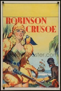 4f859 ROBINSON CRUSOE stage play English double crown 1930s great art of sexy female hero & Friday!