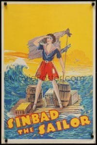 4f862 SINBAD THE SAILOR stage play English double crown 1930s female Sinbad on raft at sea!