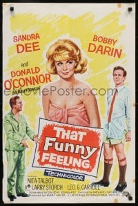 4f863 THAT FUNNY FEELING English double crown 1965 Sandra Dee, Bobby Darrin, Donald O'Connor!