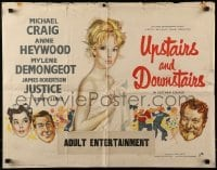 4f839 UPSTAIRS & DOWNSTAIRS English 1/2sh 1960 sexy naked Mylene Demongeot covered only by a sheet!