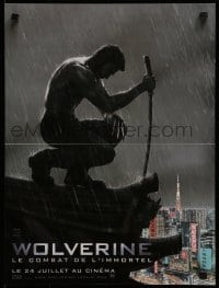 4f837 WOLVERINE teaser French 16x21 2013 silhouette of Hugh Jackman kneeling on rooftop in rain!