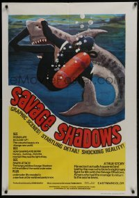 4f058 SAVAGE SHADOWS South African 1969 incredible and different art of diver fighting shark!