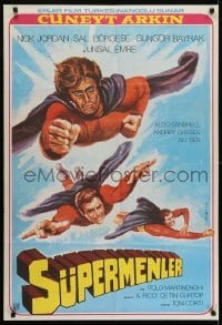 4f063 3 SUPERMEN AGAINST GODFATHER Turkish 1979 wonderful art of flying superheros!