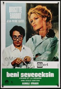 4f064 BEAR & THE DOLL Turkish 1973 great image of Brigitte Bardot, Jean-Pierre Cassel, bizarre!