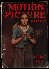 4h708 MOTION PICTURE magazine August 1914 cover art from the painting by Louis Deschamps!