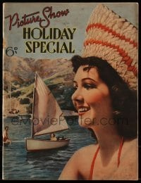 4h842 PICTURE SHOW HOLIDAY SPECIAL English magazine 1936 pretty Jean Parker having fun on a lake!