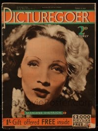 4h892 PICTUREGOER English magazine February 27, 1932 cover portrait of sexy Marlene Dietrich!