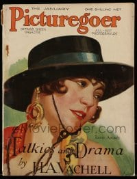 4h889 PICTUREGOER English magazine January 1930 great cover art of pretty Renee Adoree!
