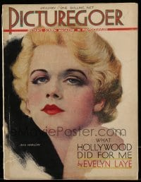 4h891 PICTUREGOER English magazine January 1931 great cover art of sexy Jean Harlow by A. Grace!