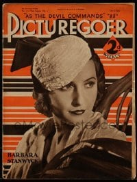 4h897 PICTUREGOER English magazine July 8, 1933 great cover portrait of sexy Barbara Stanwyck!