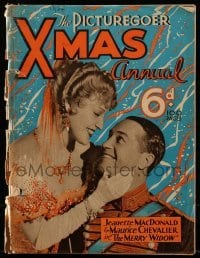4h859 PICTUREGOER XMAS ANNUAL English magazine 1934 Jeanette MacDonald & Maurice Chevalier cover!