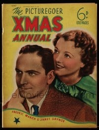 4h862 PICTUREGOER XMAS ANNUAL English magazine 1937 Fredric March & Janet Gaynor on the cover!