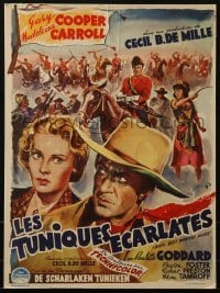 4j032 NORTH WEST MOUNTED POLICE Belgian 1948 Cecil B. DeMille, Wik art of Gary Cooper & Carroll!