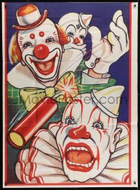 4j007 UNKNOWN CIRCUS POSTER 41x56 circus poster 1960s art of clowns playing with dynamites!