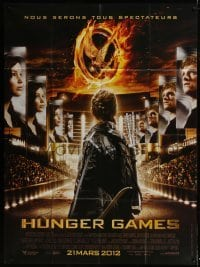 4j810 HUNGER GAMES advance French 1p 2012 Jennifer Lawrence, Josh Hutcherson, cool different image!