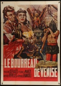 4j813 I PIOMBI DI VENEZIA French 1p 1953 cool art with hooded executioner by Deamicis!