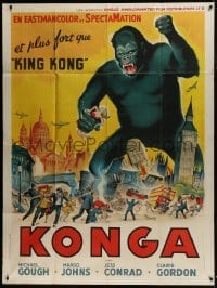 4j828 KONGA French 1p 1961 great art of giant angry ape terrorizing London & holding girl!
