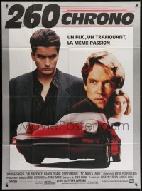 4j889 NO MAN'S LAND French 1p 1988 different image of Charlie Sheen, D.B. Sweeney & Porsche!