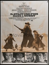 4j898 ONCE UPON A TIME IN THE WEST French 1p R1970s Leone, art of Cardinale, Fonda, Bronson & Robards!