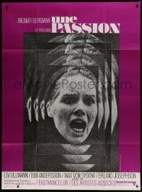4j901 PASSION French 1p 1970 Ingmar Bergman's En Passion, close up of terrified Liv Ullmann!
