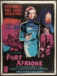 4j907 PORT AFRIQUE French 1p 1957 different art of sexy Pier Angeli caught in the Casbah with gun!