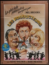 4j911 PRODUCERS French 1p R1979 Mel Brooks, Mostel, Wilder, Meredith, different Landi art!