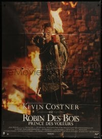 4j926 ROBIN HOOD PRINCE OF THIEVES French 1p 1991 cool image of Kevin Costner with flaming arrow!