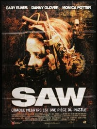 4j934 SAW French 1p 2004 gory serial killer, great image of Shawnee Smith in diabolical device!