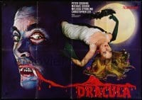 4j037 HORROR OF DRACULA German 33x47 R1960s Hammer, cool vampire monster & sexy girl artwork!