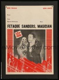 4j009 FETAQUE SANDERS MAGICIAN 12x16 magic poster 1950s the black magician on phone with skeleton!