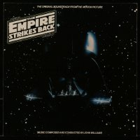 4j015 EMPIRE STRIKES BACK 12x12 soundtrack album flat 1980 c/u of Darth Vader's helmet in space!